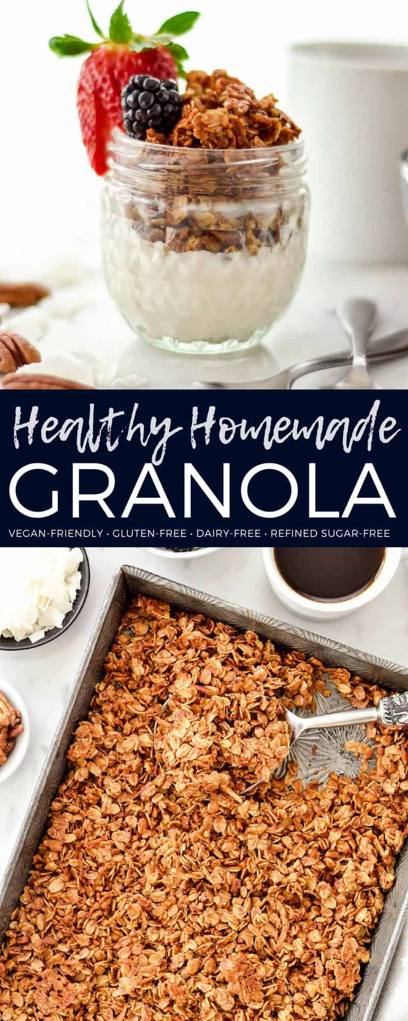 Healthy Granola Recipe with Pecans & Coconut is made with only 8 ingredients and ready in 30 minutes! It's gluten-free, dairy-free vegan and has no refined sugar! The perfect healthy breakfast or snack! #homemade #granola #healthygranola #granolarecipe