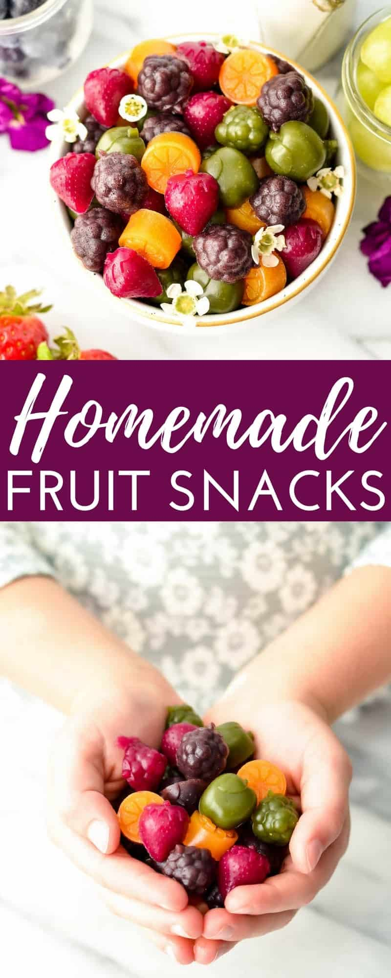 Homemade Fruit Snacks recipe made with whole fruits & vegetables! A healthy, high-protein snack loaded with nutrients made in the blender! #paleo #glutenfree #grainfree #dairyfree #refinedsugarfree #healthysnack #fruitsnacks #homemade #kidfriendly #snacktime