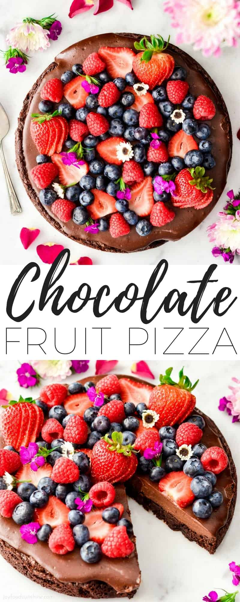 Paleo Chocolate Fruit Pizza with a Brownie Cookie Crust is a decadent yet healthy dessert recipe. A layer of silky-smooth chocolate topping is slathered over an irresistibly chocolatey crust that's a cross between a brownie and a cookie, and topped with fresh berries. It's gluten-free & dairy-free and has no refined sugar but no one would ever guess that it's good for you! #paleo #fruitpizza #chocolate #berries #dessert #dairyfree #glutenfree #grainfree #refinedsugarfree