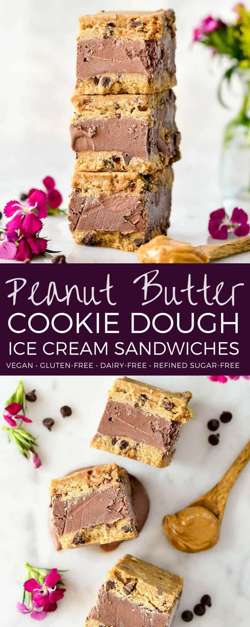 Vegan & Gluten-Free Peanut Butter Cookie Dough Ice Cream Sandwiches are a healthy summer dessert! This no-bake recipe is so easy to make and perfect for chocolate peanut butter lovers! #glutenfree #vegan #icecreamsandwich #icecream #dessert #vegandessert