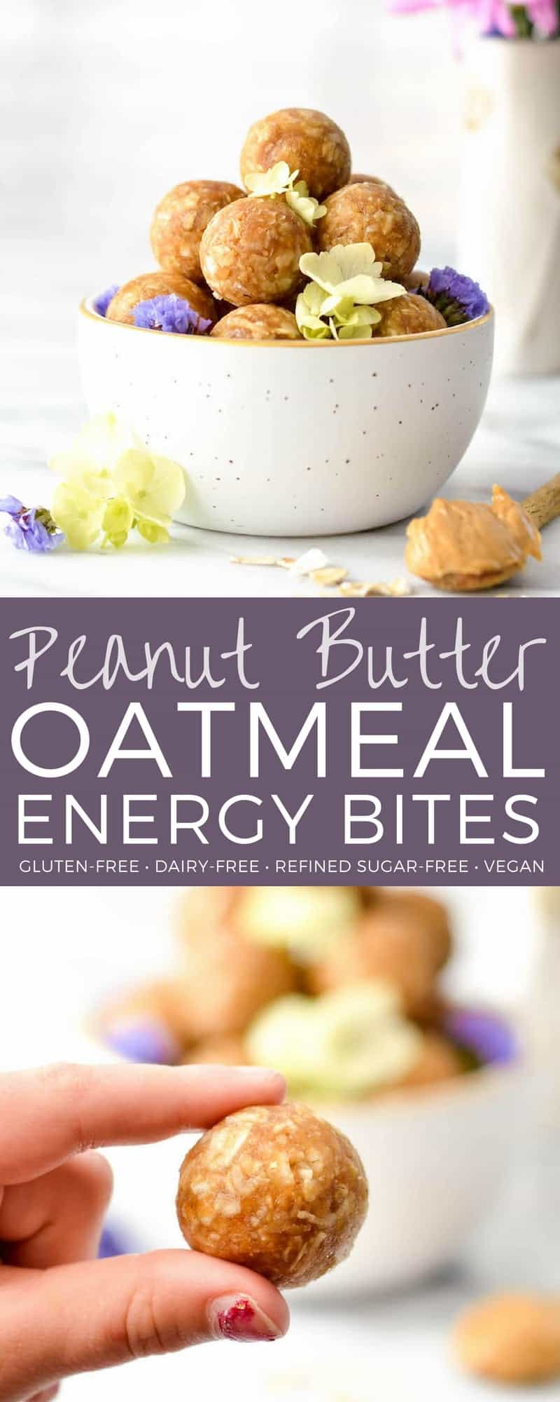 Peanut Butter Oatmeal Balls! An easy, healthy snack recipe made in 5 minutes with only 8 ingredients! The perfect little energy bite! Gluten-free, dairy-free, refined sugar free and vegan-friendly! #energyballs #glutenfree #dairyfree #vegan #energybites #peanutbutter #oatmeal #snack
