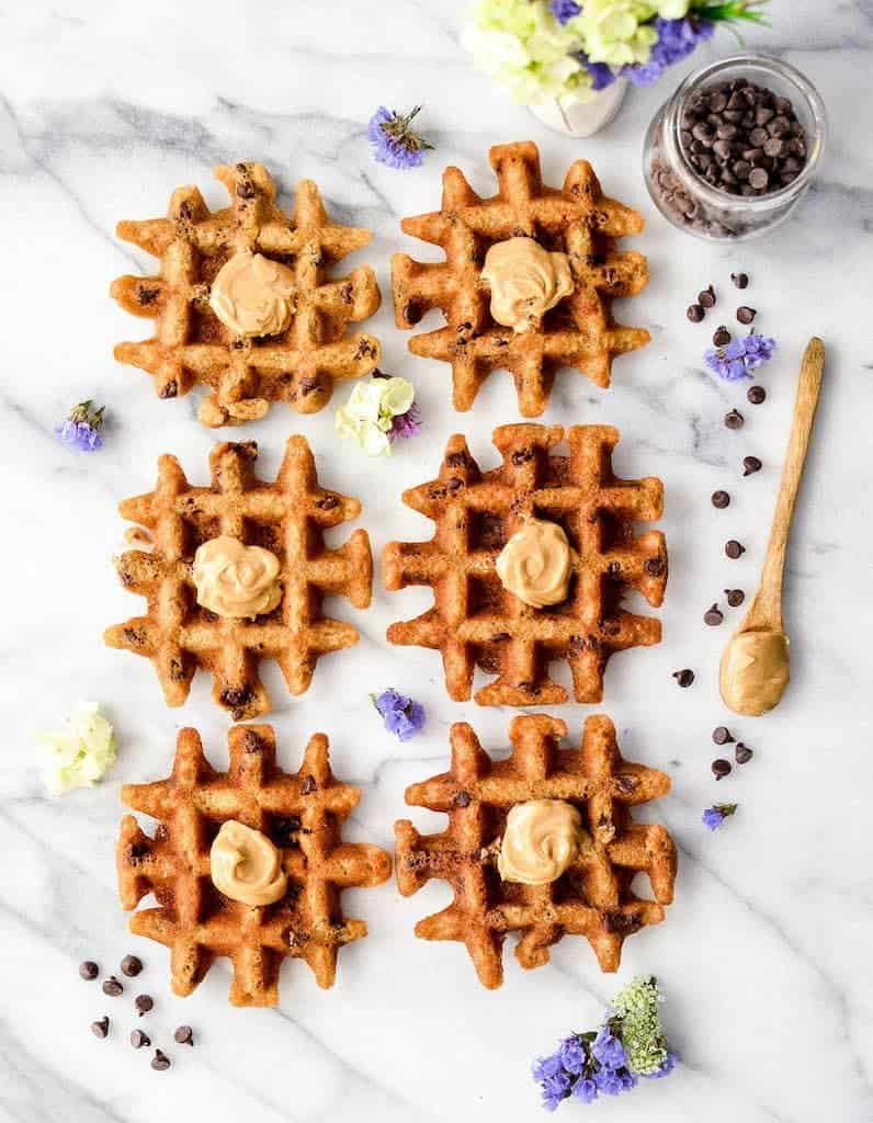 overhead view of 6 peanut butter waffles in two rows