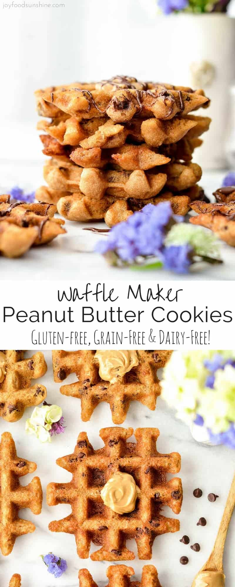 These Waffle Maker Peanut Butter Cookies are gluten-free and ready in 10 minutes! An easy dessert recipe that is healthy enough for breakfast {gluten-free peanut butter waffles}! They taste JUST like a flourless peanut butter cookie but no oven required! They're gluten-free, grain-free, dairy-free and refined sugar free!