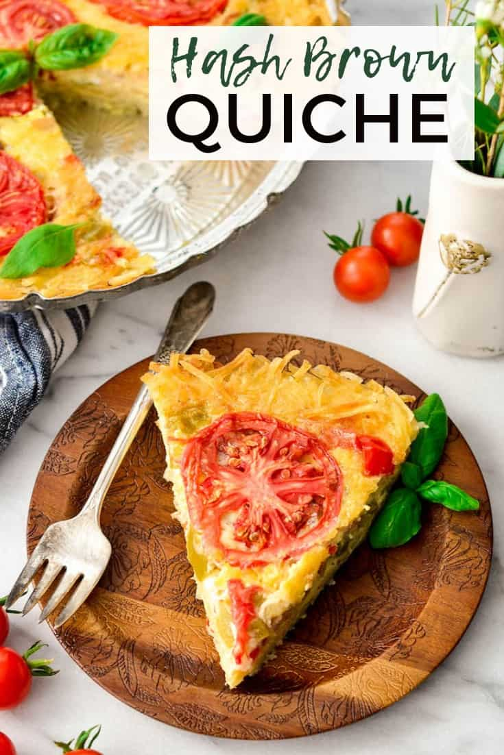 This Gluten-Free Hash Brown Quiche is an easy, healthy & filling recipe! Eat it as a protein-packed breakfast or quick dinner! It's make-ahead, gluten-free and vegetarian friendly! #glutenfree #quiche #breakfast #recipe #healthy #brunch