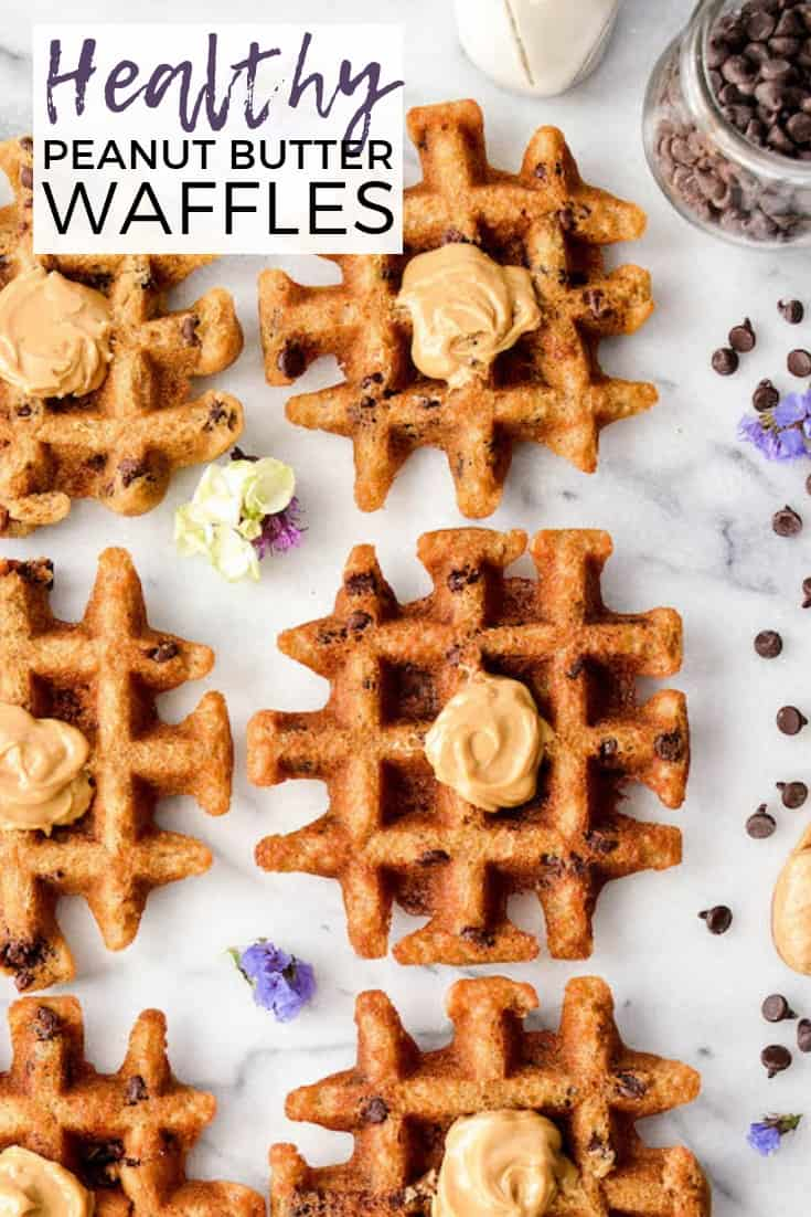 These Peanut Butter Waffles are gluten-free, grain-free and ready in 10 minutes! An easy, healthy breakfast recipe that tastes JUST like a flourless peanut butter cookie but no oven required! #waffles #peanutbutter #grainfree #glutenfree #dairyfree #wafflecookies #breakfast #recipe