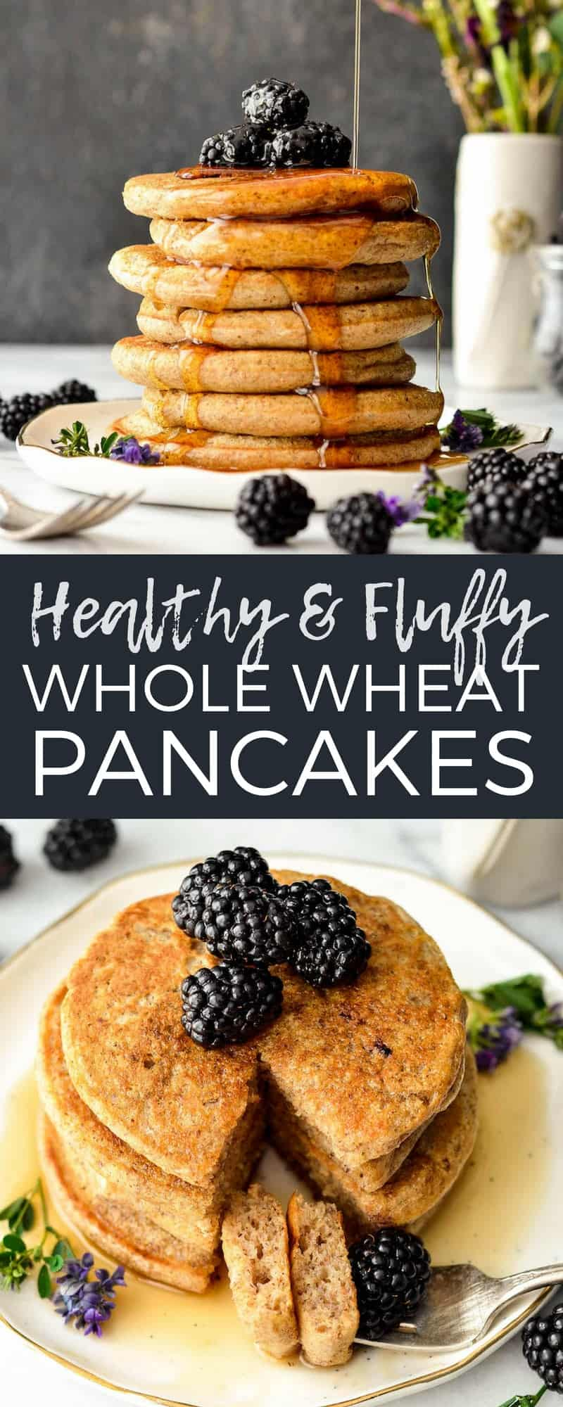 These Fluffy Whole Wheat Pancakes with ground flaxseed and Greek yogurt (or buttermilk) will be your new favorite, go-to breakfast recipe!  They are simple, healthy and insanely delicious! Plus they're freezer-friendly! #wholewheat #pancakes #healthybreakfast #healthypancakes