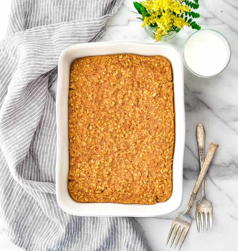 Overhead view of a baking dish of Pumpkin Baked Oatmeal without drizzle