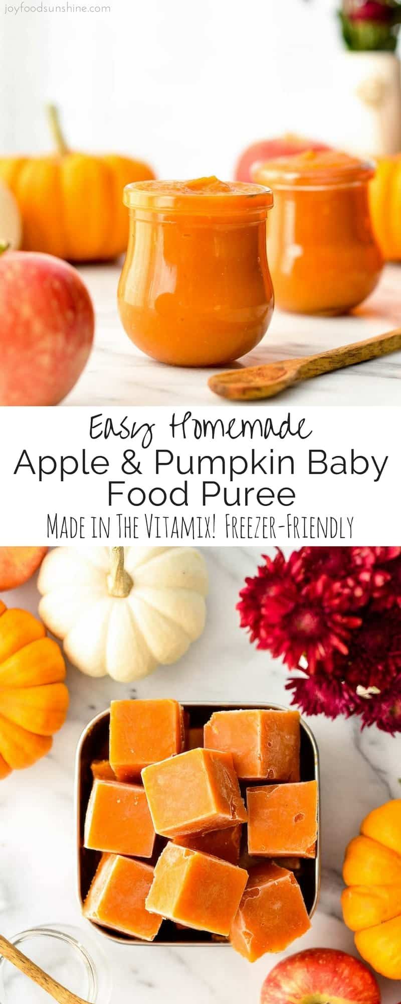 This Homemade Apple & Pumpkin Baby Food Puree is an easy & healthy recipe to feed your baby this fall! Only 3 ingredients (pumpkin, apples & water) means that it's naturally gluten-free, dairy-free, & vegan with no preservatives, food coloring or additives!