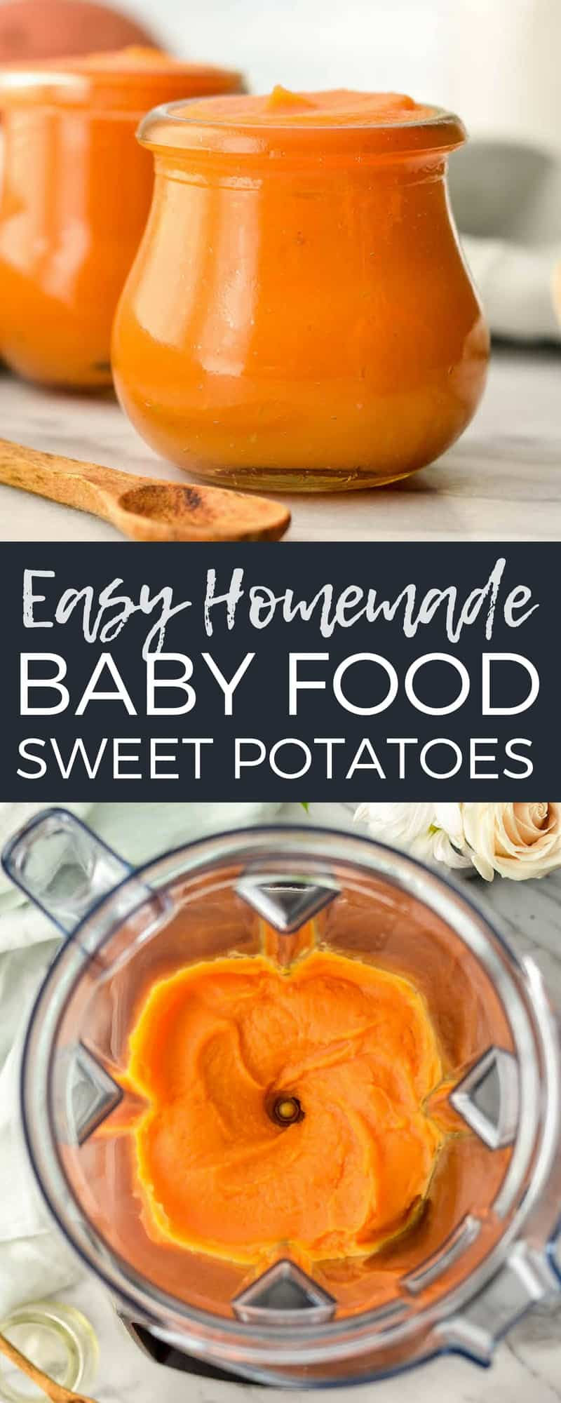 Easy Homemade Sweet Potato Baby Food! This recipe has only two ingredients, sweet potatoes and water! Making your own baby food is less expensive, tastier, and more nutritious than store-bought varieties!  #homemade #babyfood #sweetpotatoes #homemadebabyfood #vitamix #blender