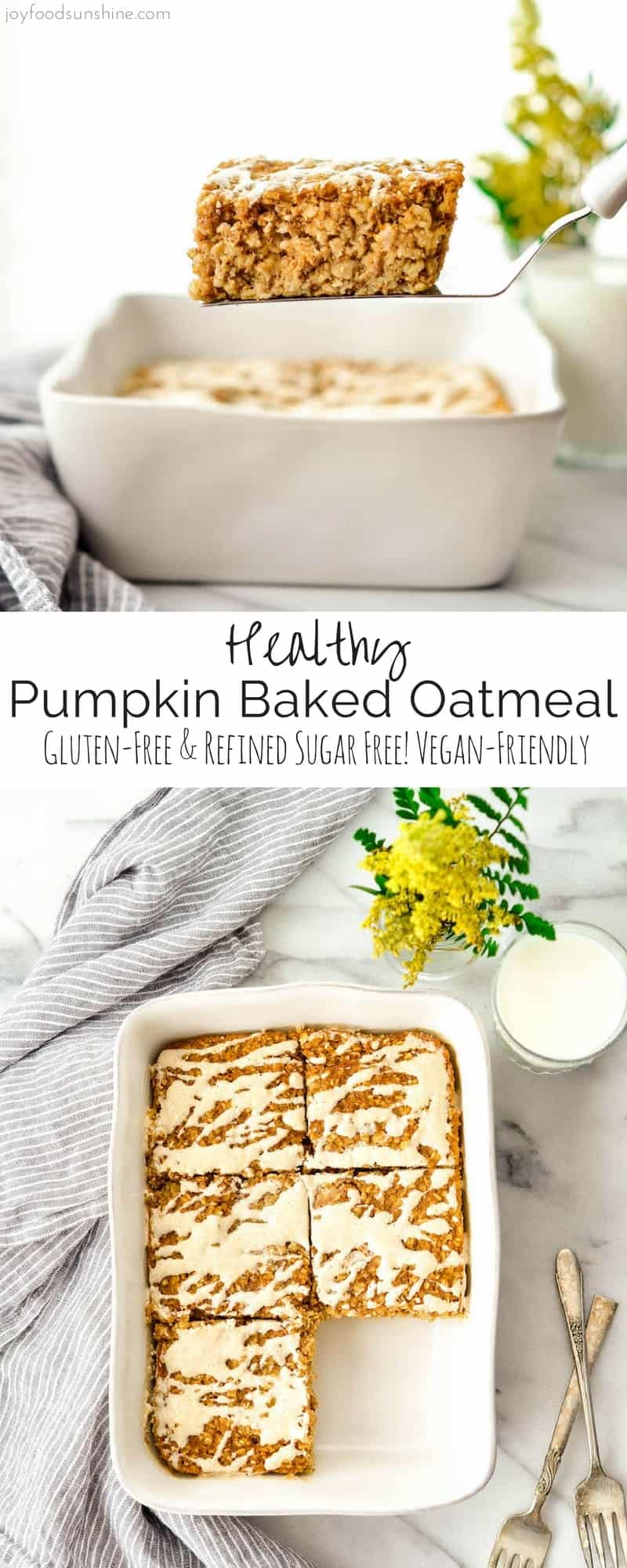 This Pumpkin Baked Oatmeal with a Maple Cinnamon Cream Cheese Glaze is the perfect healthy fall breakfast recipe. Loaded with protein, fiber and nutrients it's gluten-free, has no refined sugar and can be dairy-free & vegan-friendly!