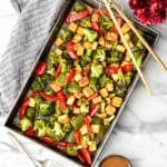 Sheet Pan Crispy Tofu & Vegetables with Peanut Sauce