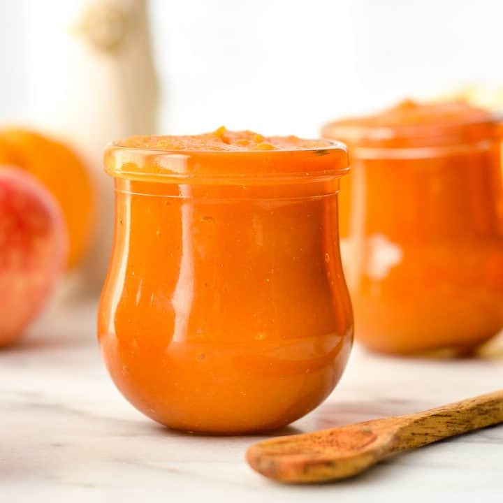 Front view of two jars of Homemade Apple & Pumpkin Baby Food