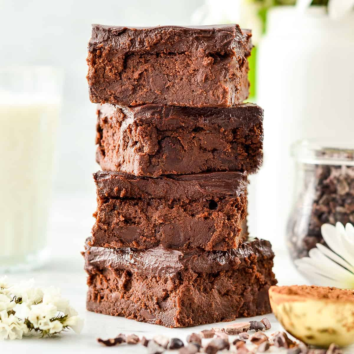stack of four healthy brownies