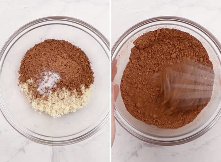 two overhead photos showing how to make healthy brownies