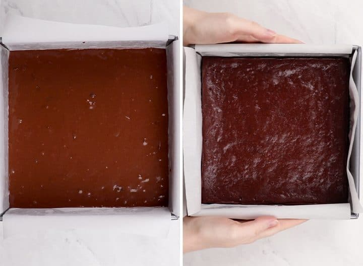 two overhead photos showing how to make healthy brownies before and after baking