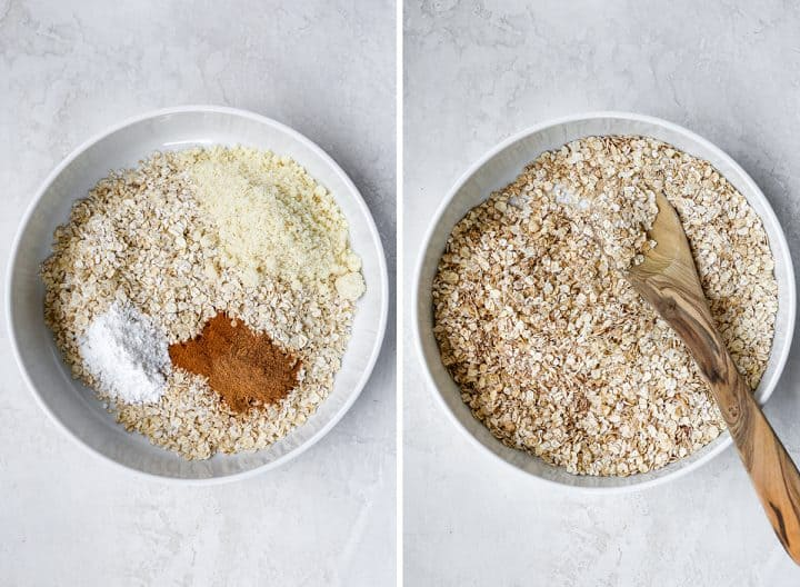 two overhead photos showing how to make pumpkin baked oatmeal