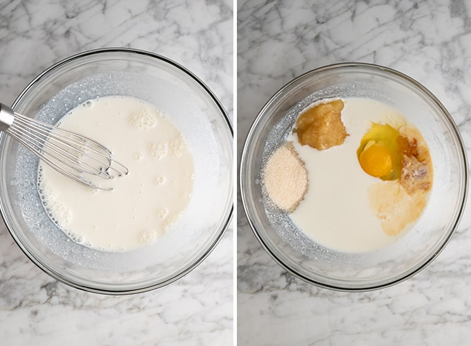 two overhead photos showing how to make whole wheat pancakes