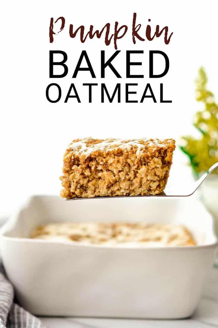 This Pumpkin Baked Oatmeal with a Maple Cinnamon Cream Cheese Glaze is the perfect healthy fall breakfast recipe. Loaded with protein, fiber and nutrients it's gluten-free, has no refined sugar and can be dairy-free & vegan-friendly! #bakedoatmeal #pumpkin #pumpkinbakedoatmeal #healthybreakfast #vegan #glutenfree #dairyfree