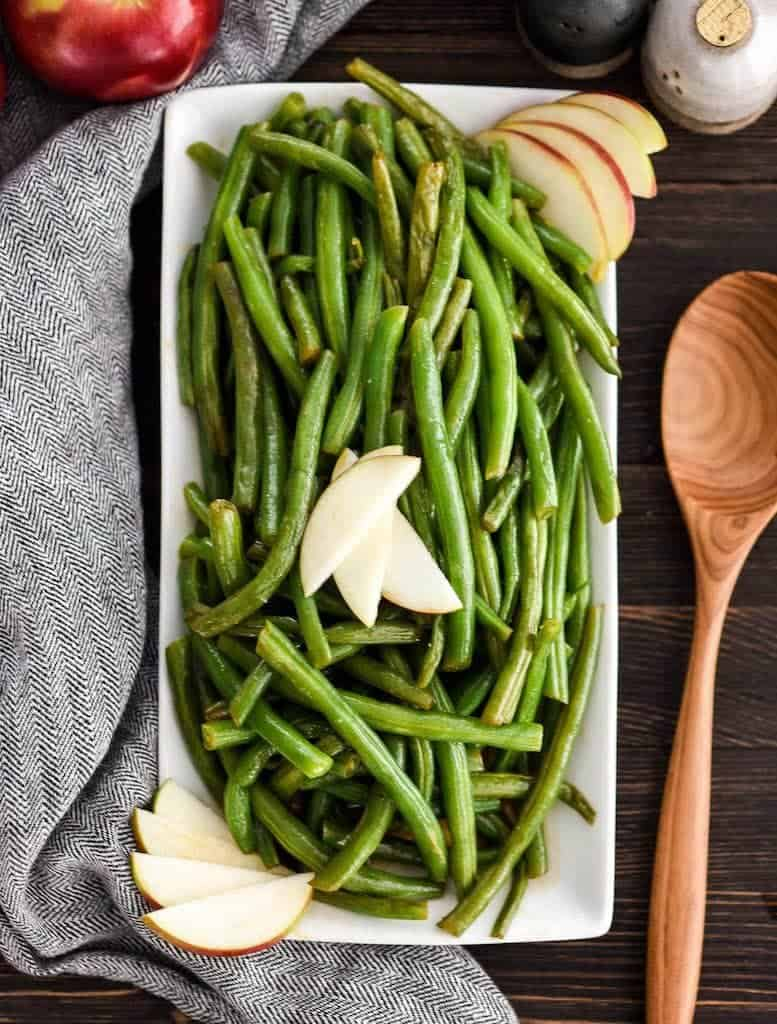 Overhead view of Sautéed Green Beans Recipe with Apple Cider on a serving dish