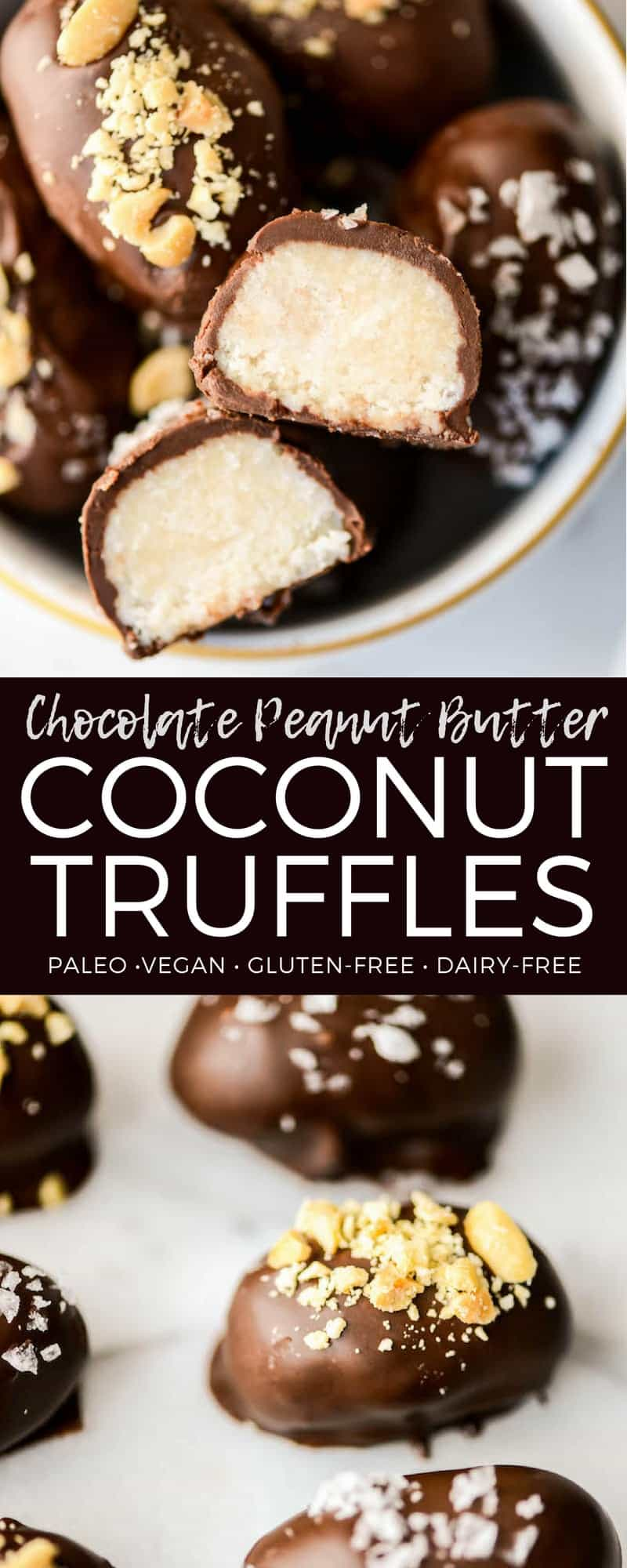 Peanut Butter Chocolate Coconut Truffles! A healthy candy recipe that's the perfect alternative for Halloween candy! Gluten & grain-free, vegan, dairy-free!  #chocolatetruffles #coconuttruffles #truffles #homemade #candy #recipe #glutenfree #dairyfree #vegan #paleo