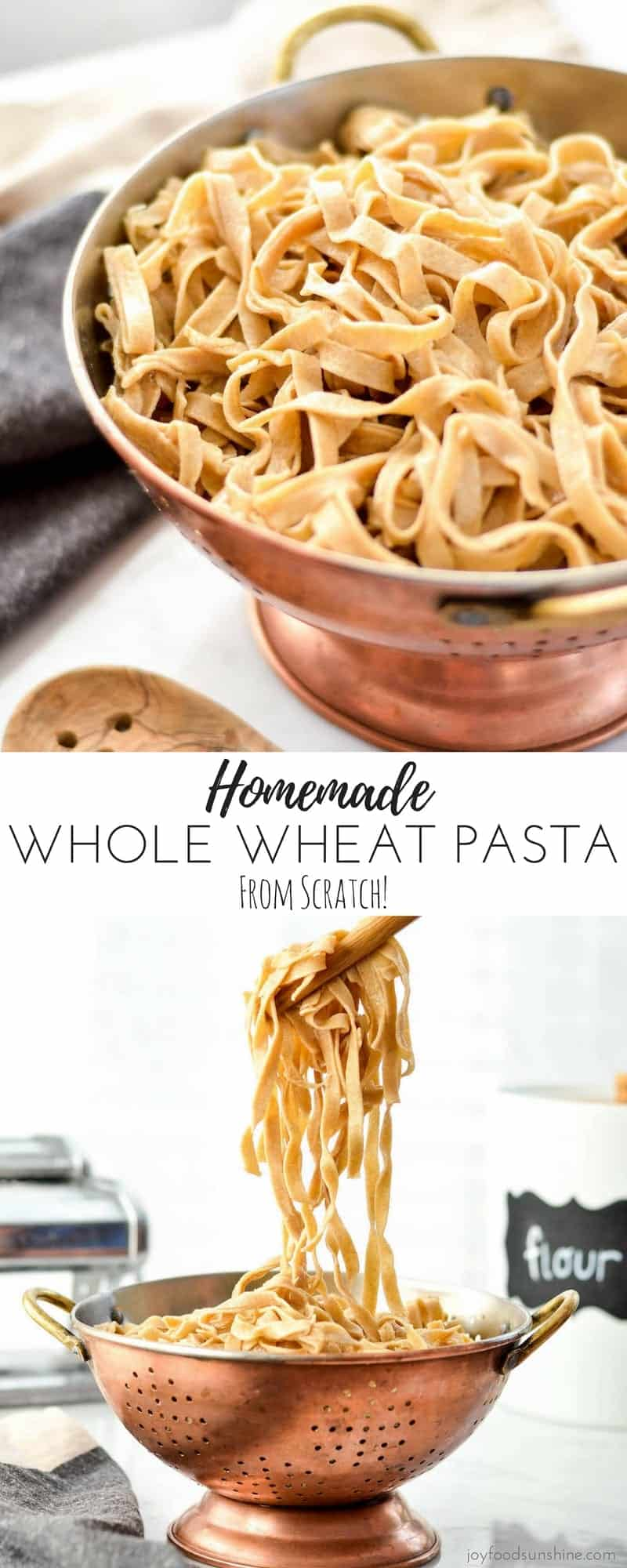 This Homemade Whole Wheat Pasta recipe makes the best noodles completely from scratch! Make a yummy main dish or side dish with this healthier pasta that tastes SO much better than boxed varieties!