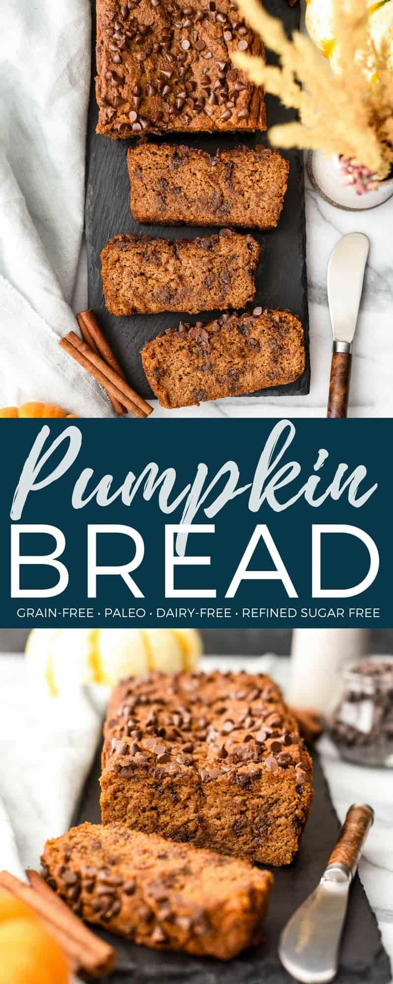 Paleo Pumpkin Bread is a healthier version of everyone's favorite fall quick bread recipe! High in protein, fiber and nutrients but tastes like dessert! The perfect healthy breakfast or snack! Gluten-free, dairy-free & refined sugar free! #paleo #pumpkinbread #recipe #pumpkin #bread #quickbread #healthy #recipe