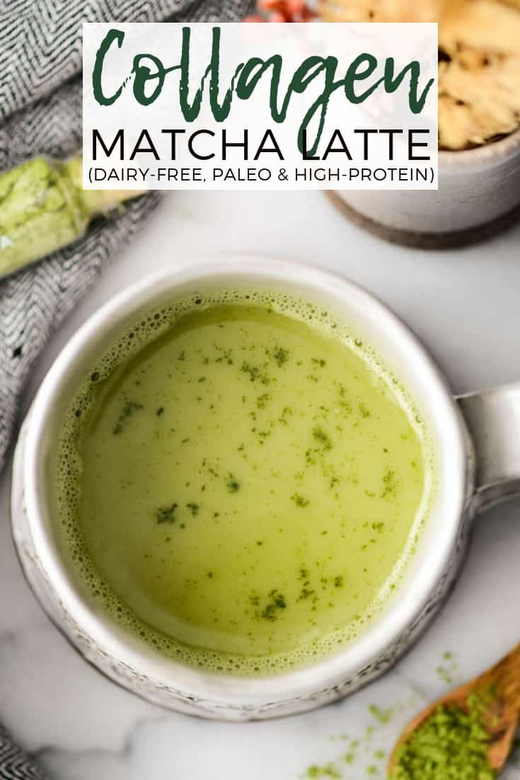 This Collagen Matcha Latte Recipe is made with only 4 ingredients! It's dairy-free, refined sugar free & paleo! Plus it's low calorie and high protein! #collage #matcha #latte #paleo #dairyfree #recipe #heatlthyrecipe