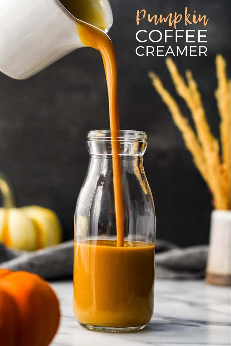 This Paleo & Vegan Homemade Pumpkin Coffee Creamer recipe is a healthy & delicious way to spruce up your morning cup of coffee in the fall! This healthy coffee creamer recipe is gluten-free, grain-free, dairy-free and has no refined sugar but is still irresistibly creamy and delicious! #pumpkin #homemade #coffeecreamer #paleo #vegan #dairyfree