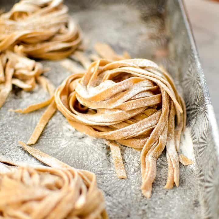 front view of a stack of raw Homemade Whole Wheat Pasta