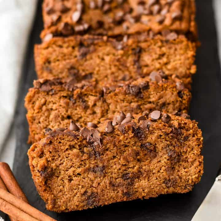 3 slices of paleo pumpkin bread with chocolate chips