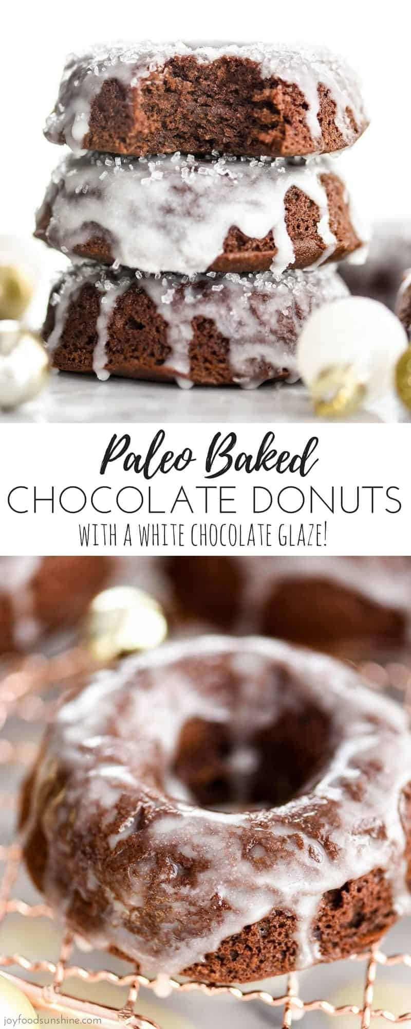 Paleo Baked Chocolate Donuts White Chocolate Glaze are a healthy yet indulgent breakfast recipe! They have the perfect texture and a rich chocolate flavor! Gluten-free, grain-free, & no refined sugar!