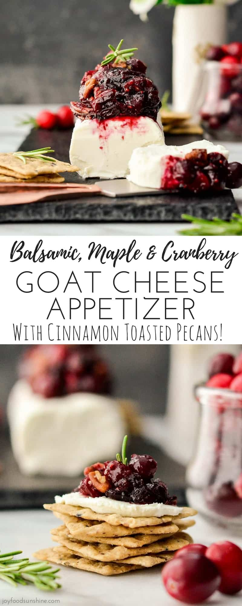 This Balsamic, Maple & Cranberry Goat Cheese Appetizer with Cinnamon Toasted Pecans is simple yet elegant! Perfect to serve at your holiday parties! It's ready in 20 minutes and is gluten-free! #appetizer #thanksgiving #christmas #cranberries #glutenfree