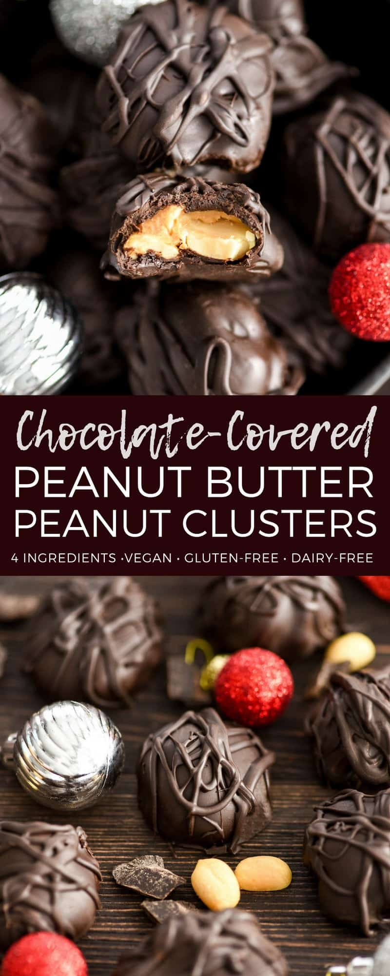 This Chocolate Peanut Clusters with Peanut Butter recipe has only 4 ingredients! They're easy to make but taste amazing! A perfect treat to make as a gift for friends and neighbors!   #vegan #glutenfree #dairyfree #peanutbutter #christmas #candy