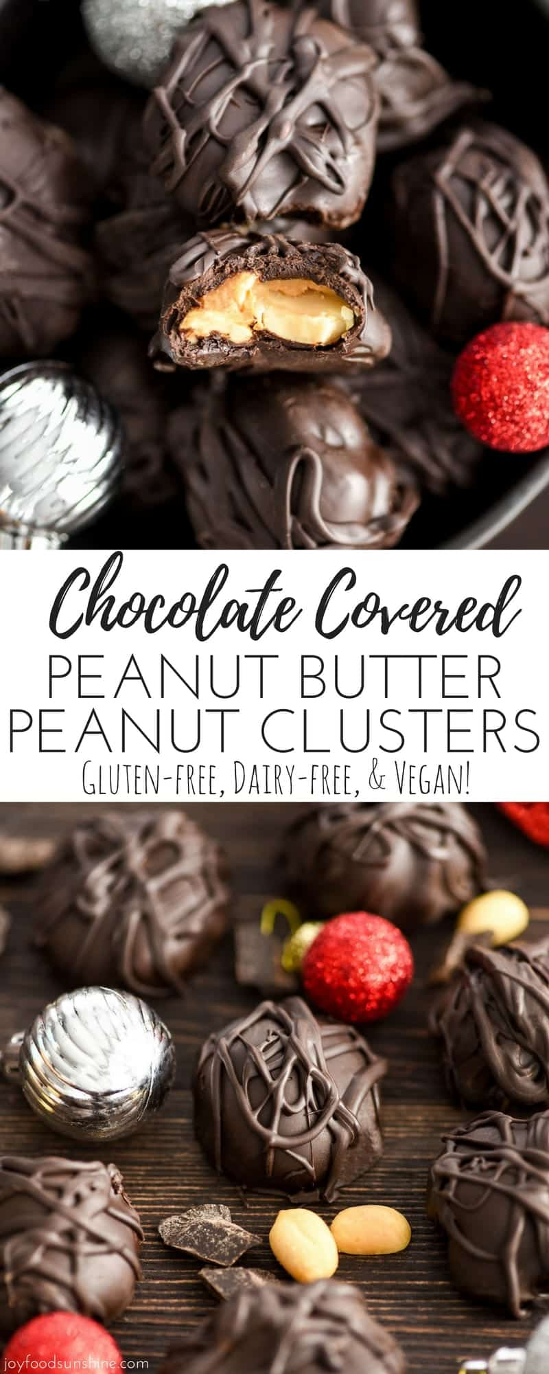 This Chocolate Covered Peanut Butter Peanut Clusters recipe has only 4 ingredients! They're easy to make but taste amazing! A perfect treat to make as a gift for friends and neighbors! #vegan #glutenfree #dairyfree #peanutbutter #christmas #candy