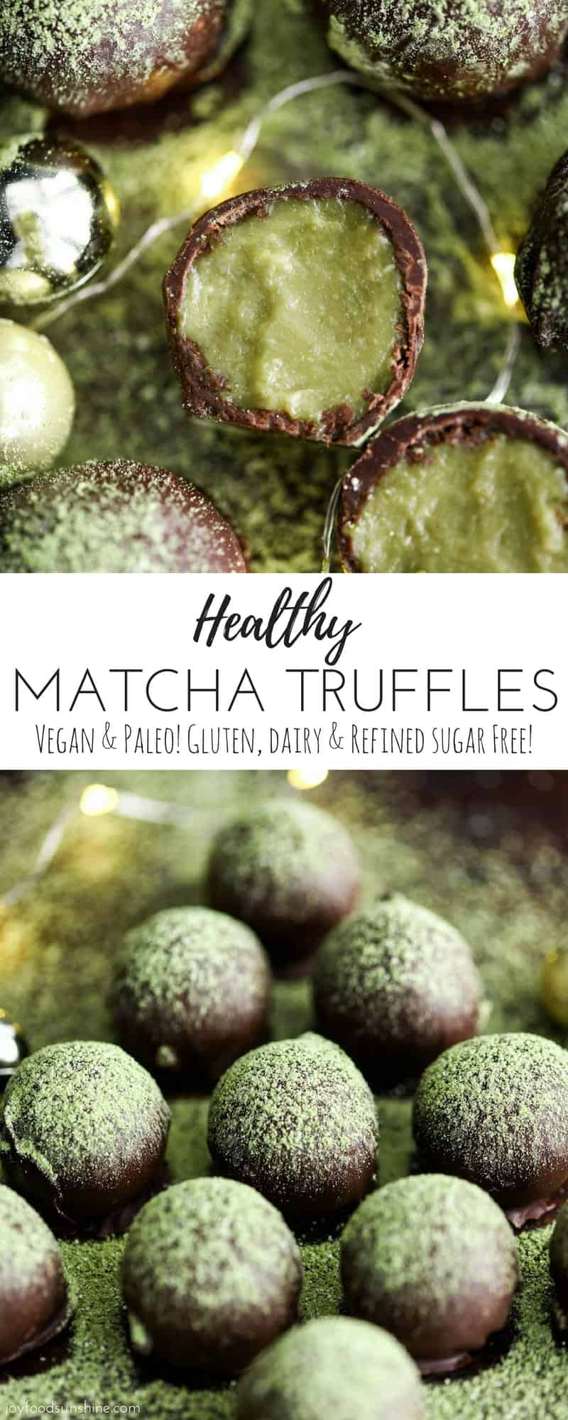Healthy Matcha Truffles are the perfect holiday dessert recipe! They are vegan, paleo, gluten & dairy-free with NO refined sugar but no one would ever guess they're made with good-for-you ingredients! #vegan #paleo #glutenfree #dairyfree #christmas #matcha #truffles #recipe #vitamix