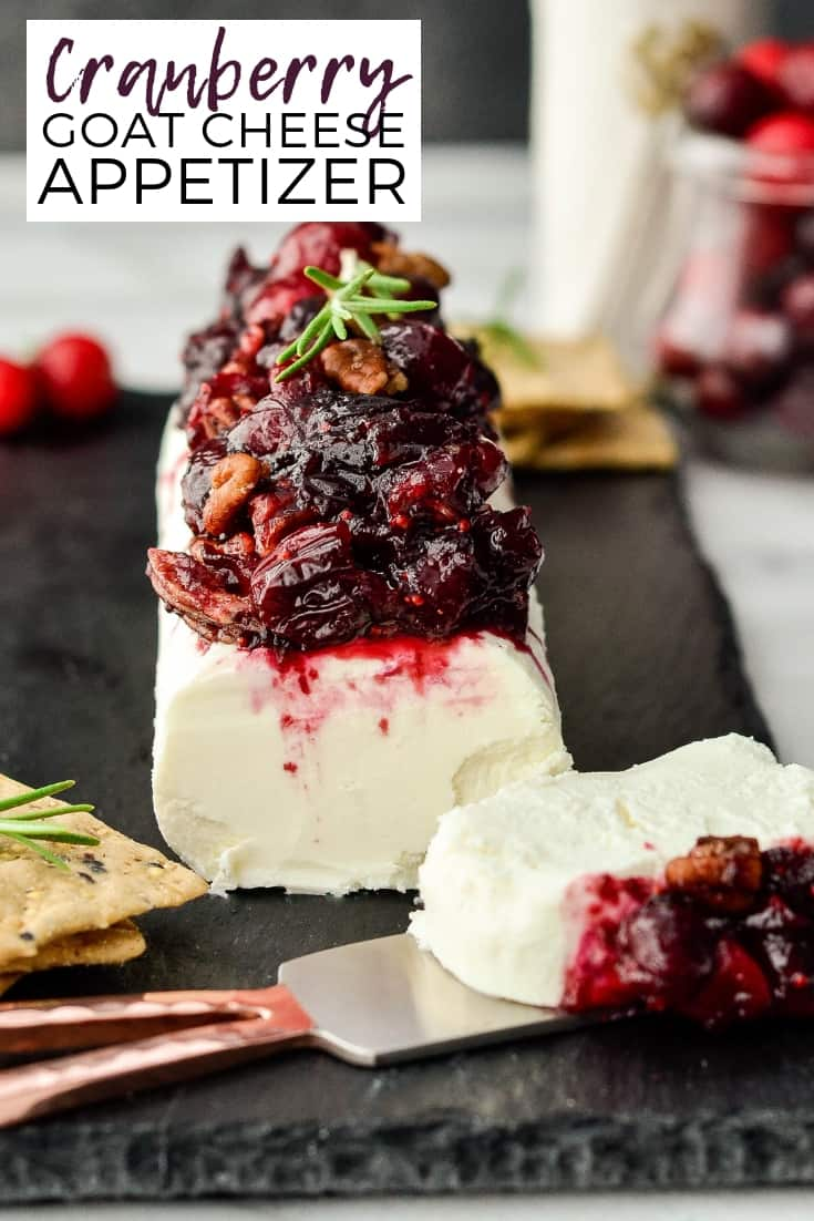 This Balsamic, Maple & Cranberry Goat Cheese Appetizer with Cinnamon Toasted Pecans is a simple yet elegant holiday appetizer! Perfect to serve at a Christmas cocktail party! It's ready in 20 minutes and is gluten-free! #appetizer #thanksgiving #christmas #cranberries #glutenfree #goat cheese #holidayappetizer #christmasappetizer