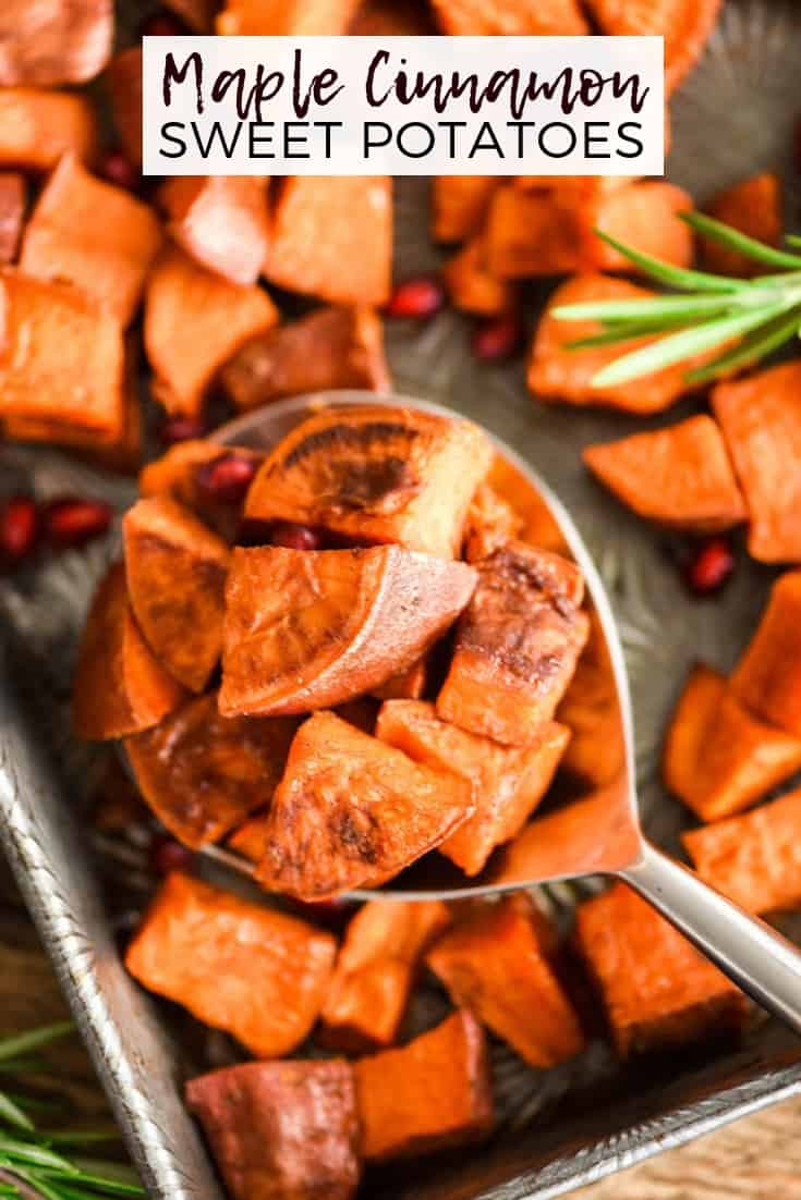 This Cinnamon Roasted Sweet Potatoes recipe is a perfect easy & healthy side dish! These crispy roasted sweet potato cubes are made with only 5 ingredients and are paleo, vegan, gluten-free & dairy-free! They taste like a crispy version of the beloved sweet potato casserole! #thanksgiving #vegan #paleo #glutenfree #dairyfree #sweetpotatoes