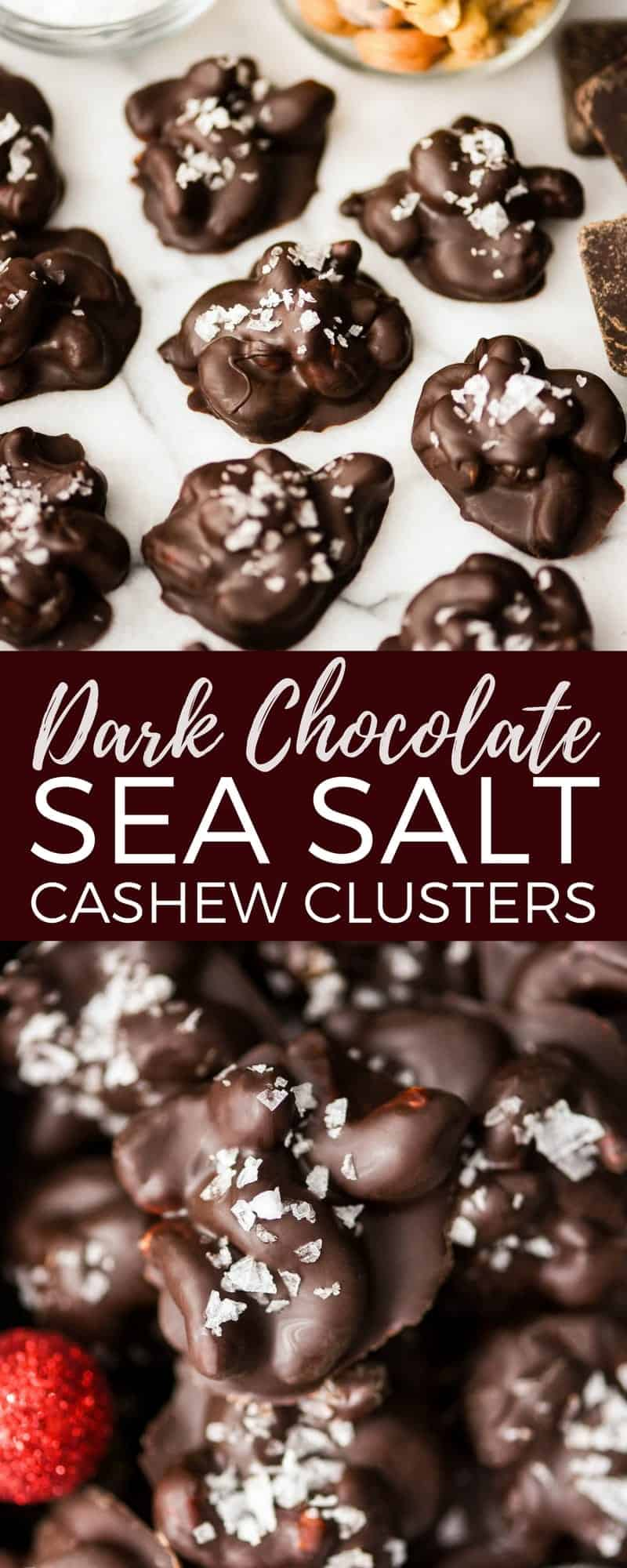 These Dark Chocolate Cashew Clusters with Sea Salt are made with only 3 ingredients and are to die for! An easy & healthy treat for the holidays! #vegan #glutenfree #candy #cashews #darkchocolate #seasalt