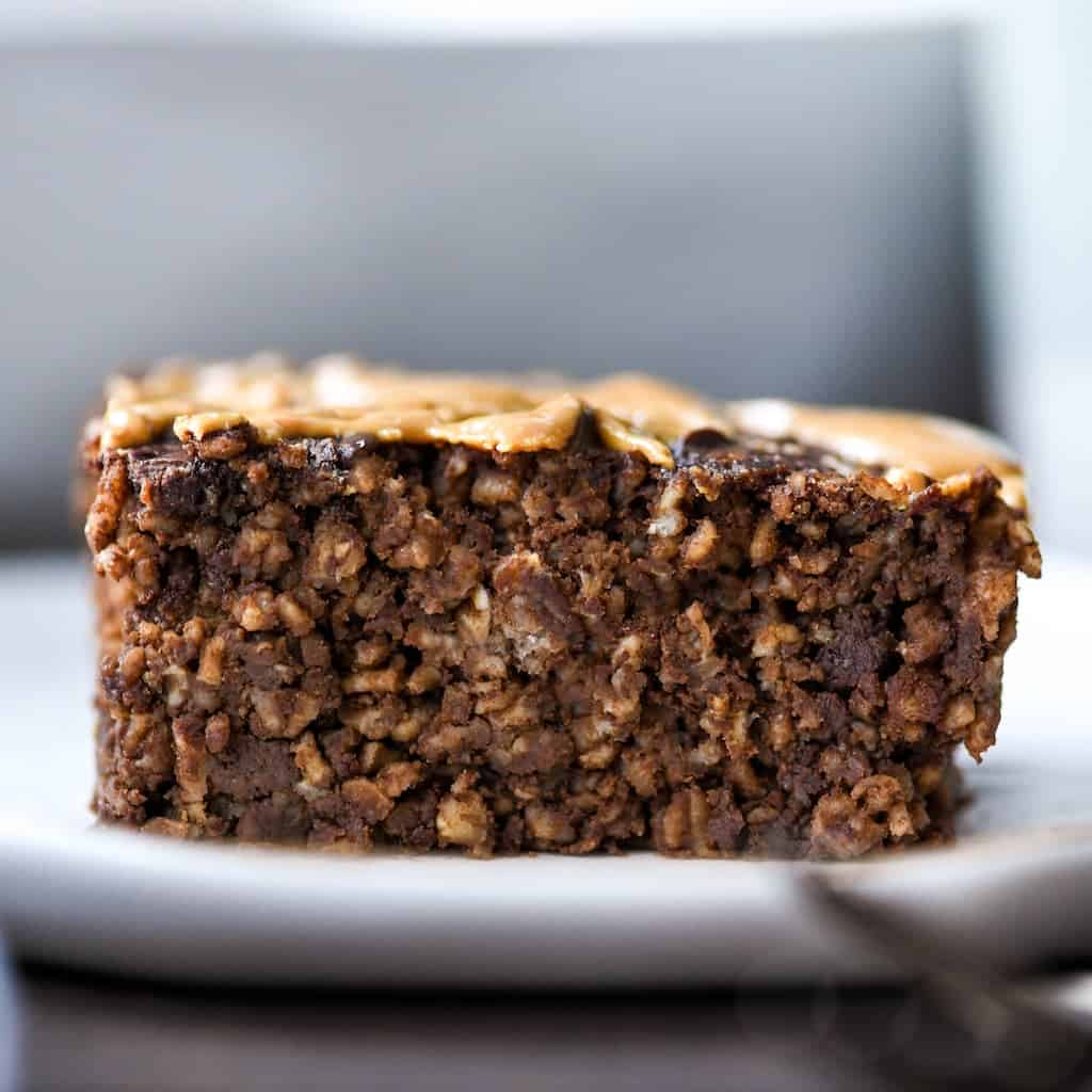 Front view of a piece of Healthy Chocolate Peanut Butter Baked Oatmeal on a plate
