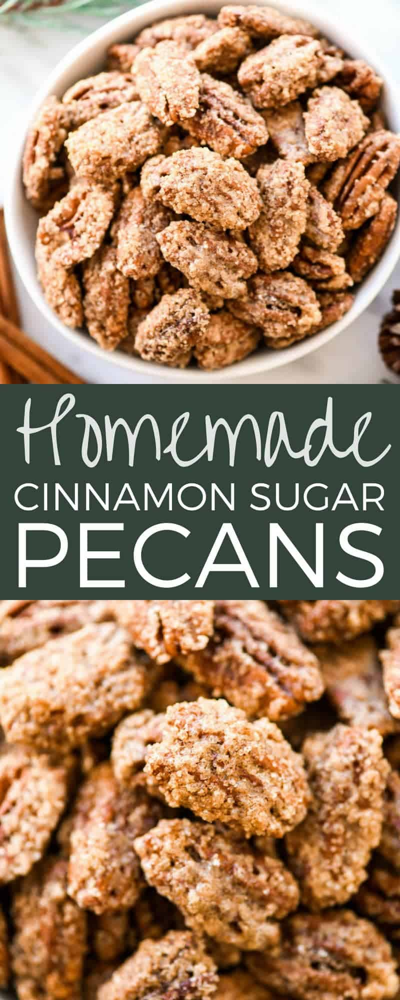 This homemade Cinnamon Sugar Pecans Recipe is made with only 6 ingredients & is WAY better than the nuts from the mall or fair! Plus, they're gluten & dairy-free & freezer-friendly! Make a batch, store them in the freezer and use as a salad topper or enjoy as a sweet snack! #glutenfree #dairyfree #cinnamonsugarnuts #pecans #snack #saladtopper #easy #homemade