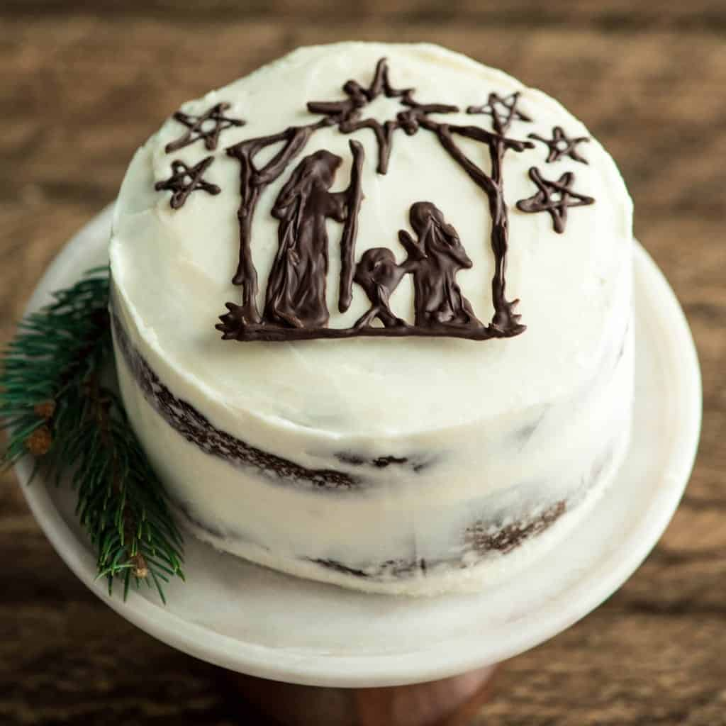 Moments 12.2017 JoyFoodSunshine. Rustic, Easy & Beautiful Nativity Cake to celebrate Jesus' Birthday! #jesus #nativity #cake #birthdaycake #happybirthdayjesus #christmas