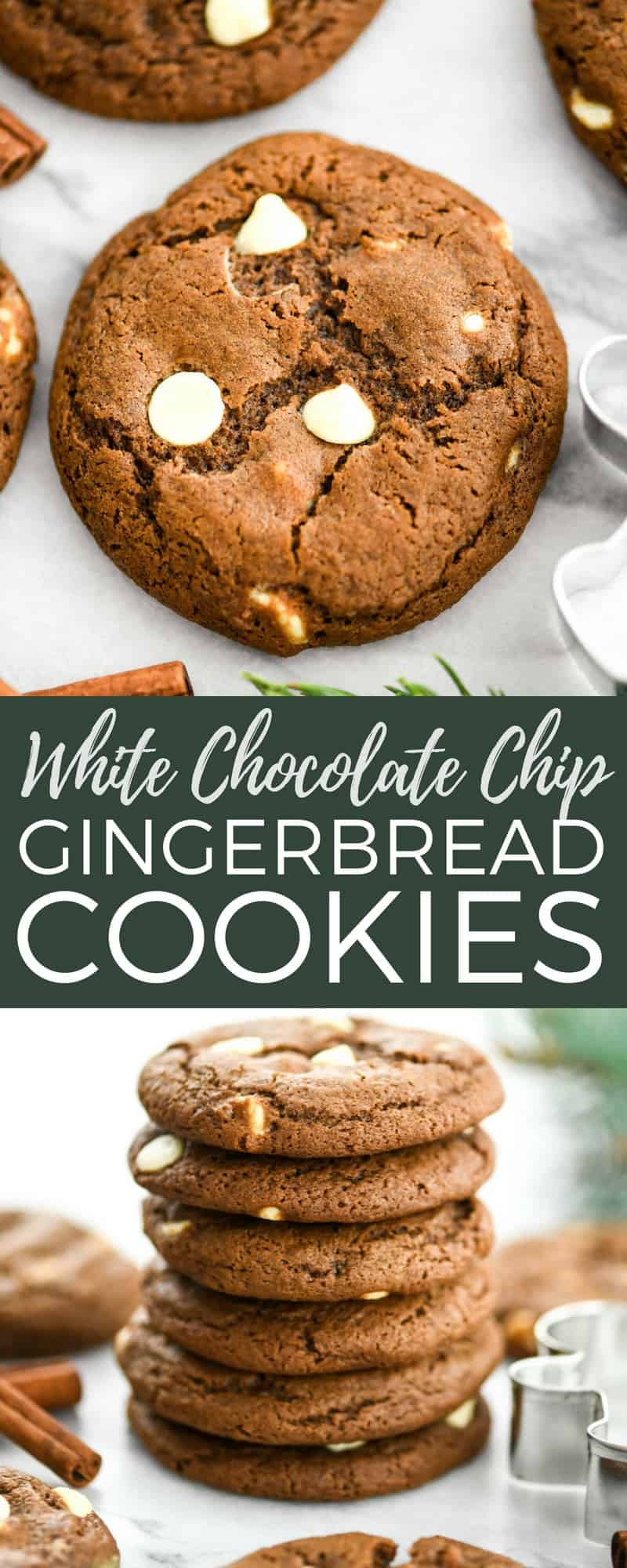 These White Chocolate Chip Gingerbread Cookies make the perfect holiday dessert. This classic recipe is so easy to make and  encompasses all the best flavors of Christmas! #gingerbread #cookies #whitechocolate #christmas #holidays #baking #recipe