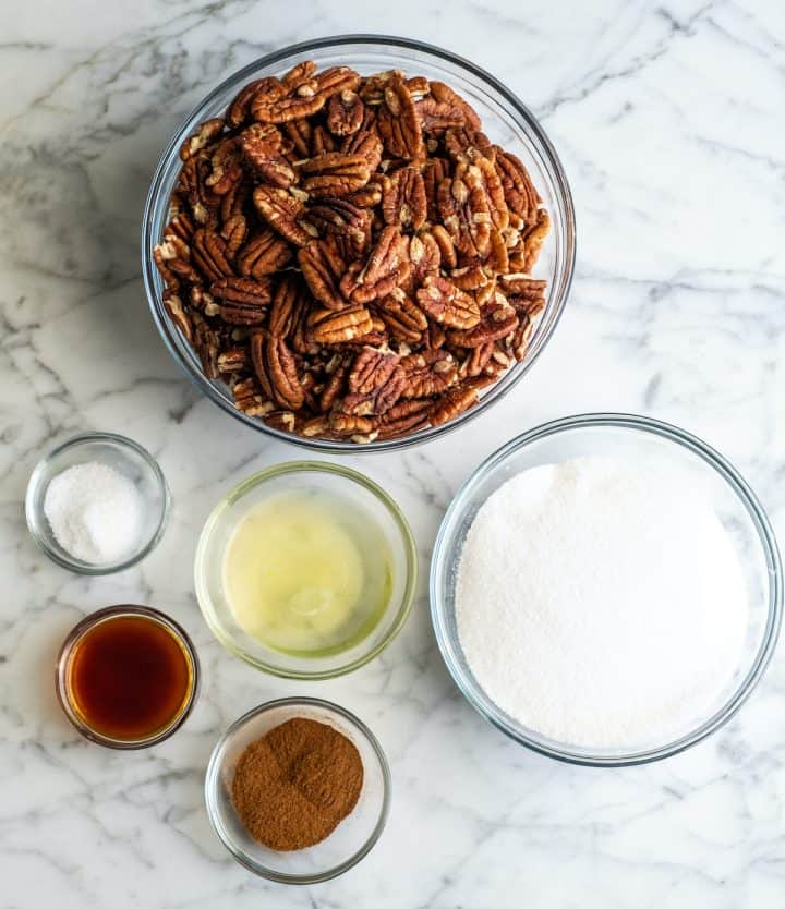 overhead view of the ingredients in this candied cinnamon sugar pecans recipe