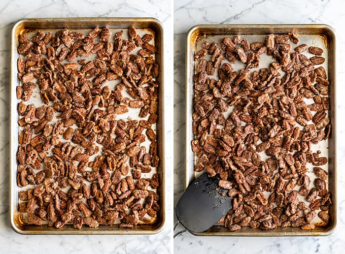 two overhead photos showing how to bake candied cinnamon sugar pecans