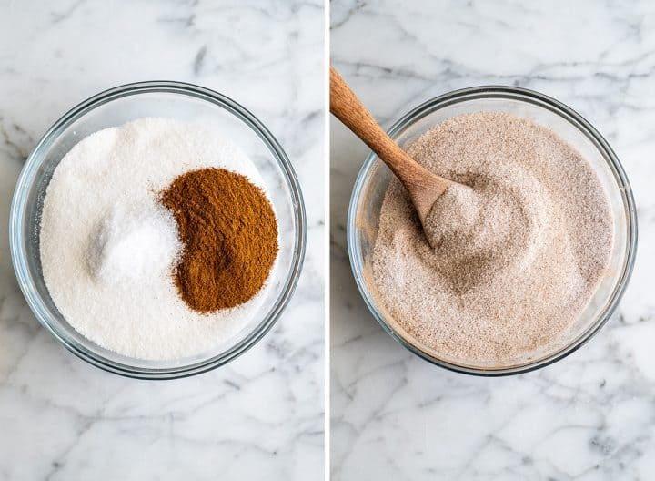 two overhead photos showing how to make candied cinnamon sugar pecans - combining dry ingredients