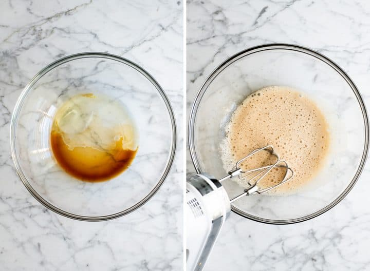 two overhead photos showing how to make candied cinnamon sugar pecans - combining wet ingredients