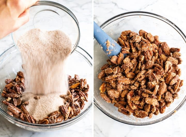 two overhead photos showing how to make candied cinnamon sugar pecans adding dry ingredients