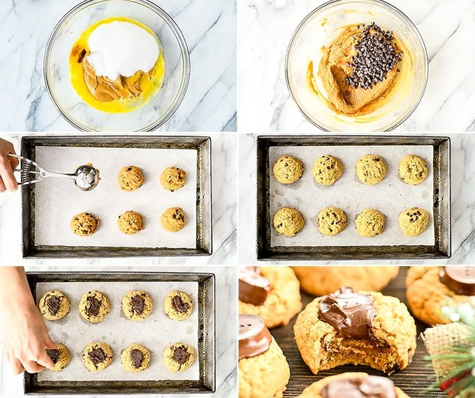Overhead view of six step-by-step photos showing how to make gluten-free peanut butter blossoms