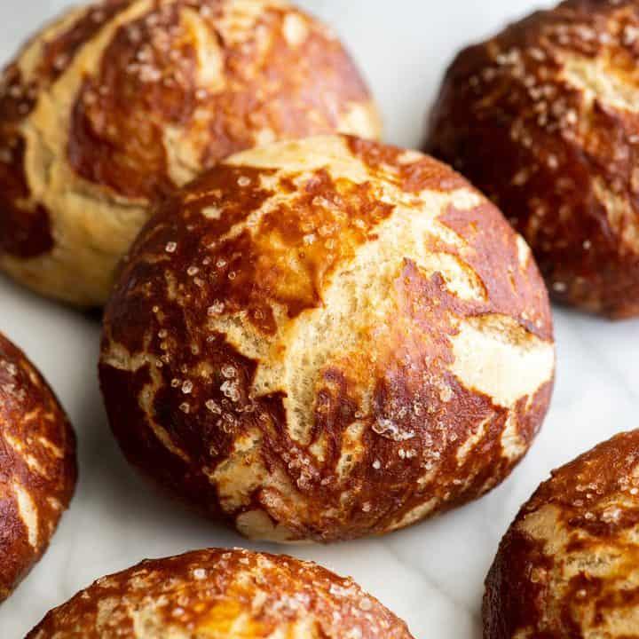 front up close view of 5 pretzel rolls
