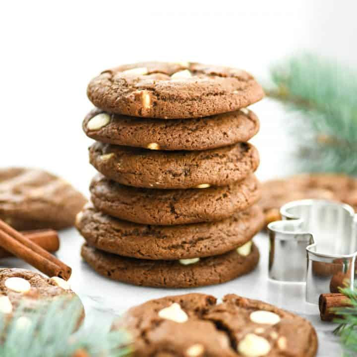 Front view of a stack of six White Chocolate Gingerbread Cookies